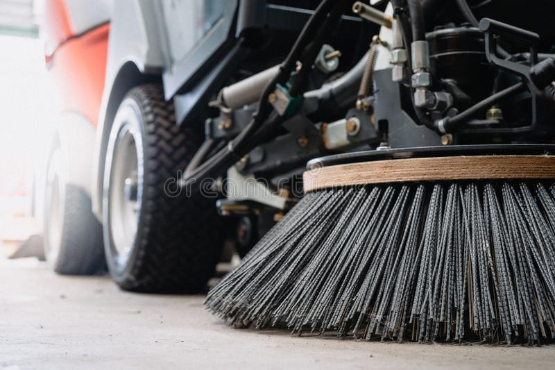 Closeup at Nylon brush of the Road sweeper. Closeup at Nylon Metal brush of the Industrial Road sweeper car royalty free stock images