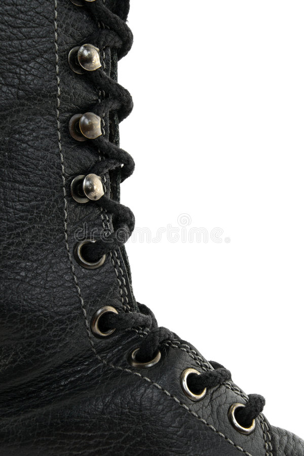 Free Closeup Of Black Leather Boot Royalty Free Stock Image - 3167576