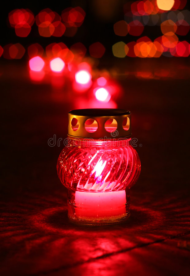 Free Closeup Of Red Burning Votive Candle Stock Images - 7244294