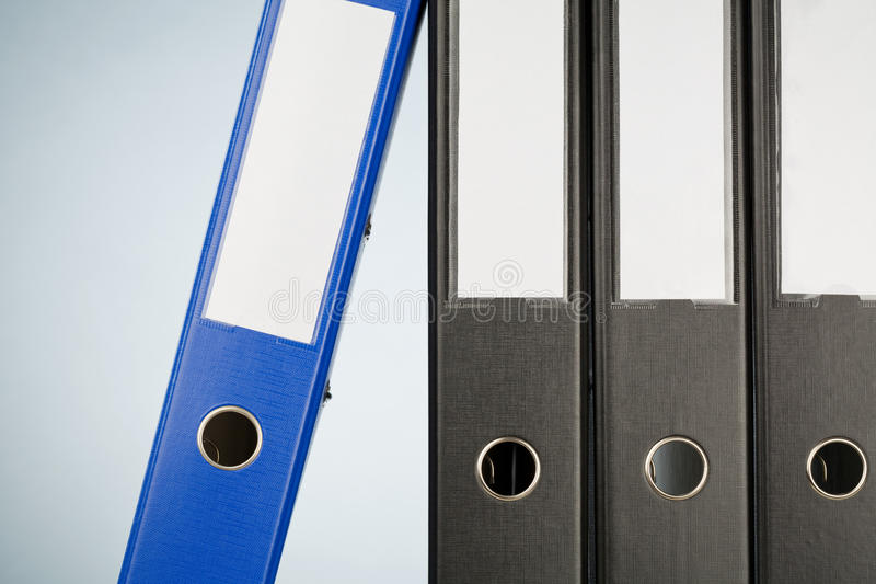 Closeup of Office Folders. Closeup image of a row of office folders or binders royalty free stock images