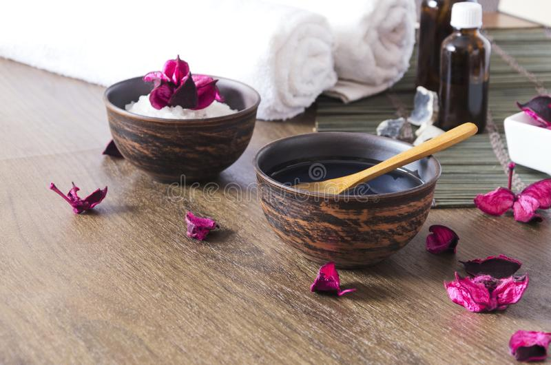 Cosmetics for massage session at the spa salon. Time for relax and beauty procedures stock images