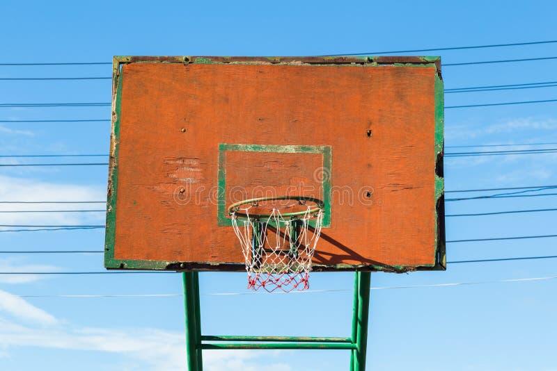 Basketball Hoop. Closeup old basketball hoop at street arena royalty free stock photo
