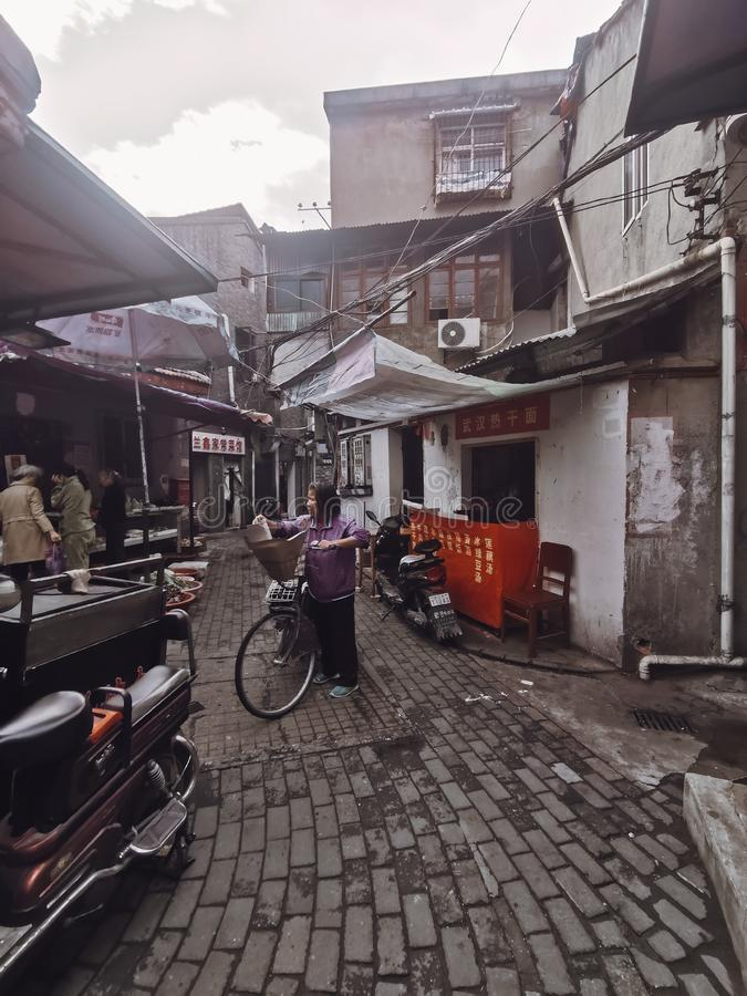 Closeup of an old chinese alley in Wuhan city china. Closeup of an old chinese alley in Wuhan city hubei province china stock photo