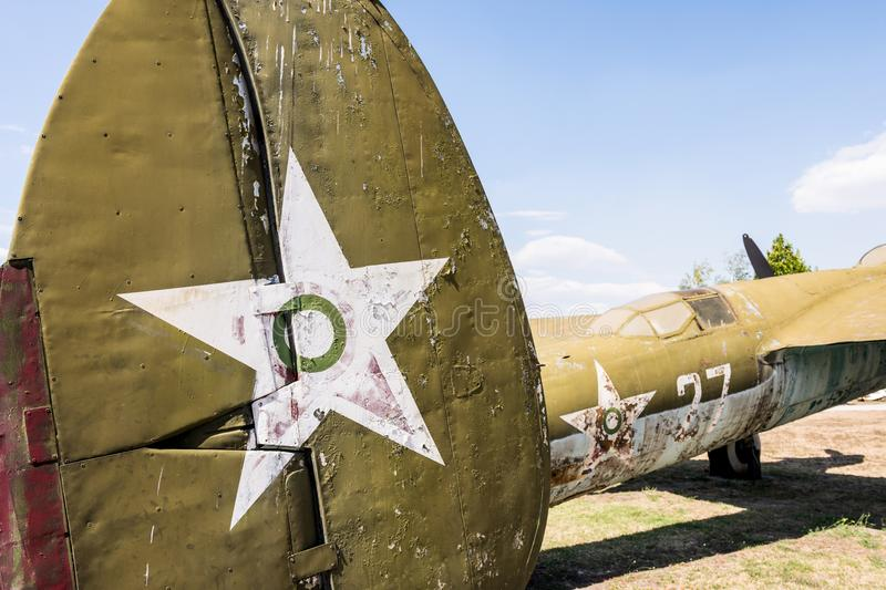 Old Fighter Military Jet Aircraft. Closeup Of A Old Fighter Military Jet Aircraft Museum Of Aviation Plovdiv, Bulgaria 06 September 2017 stock photos
