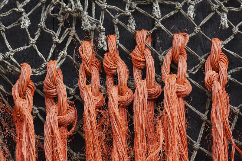 Closeup of old fishing nets and ropes. A closeup of old fishing nets and rope nailed to a barn. The contrasting colors of the orange ropes and the dark wooden royalty free stock image