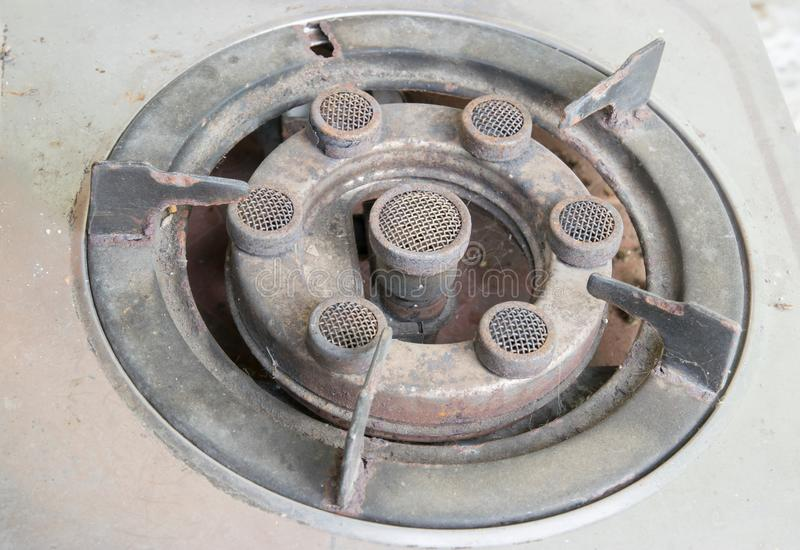 Closeup old gas stove burner royalty free stock images