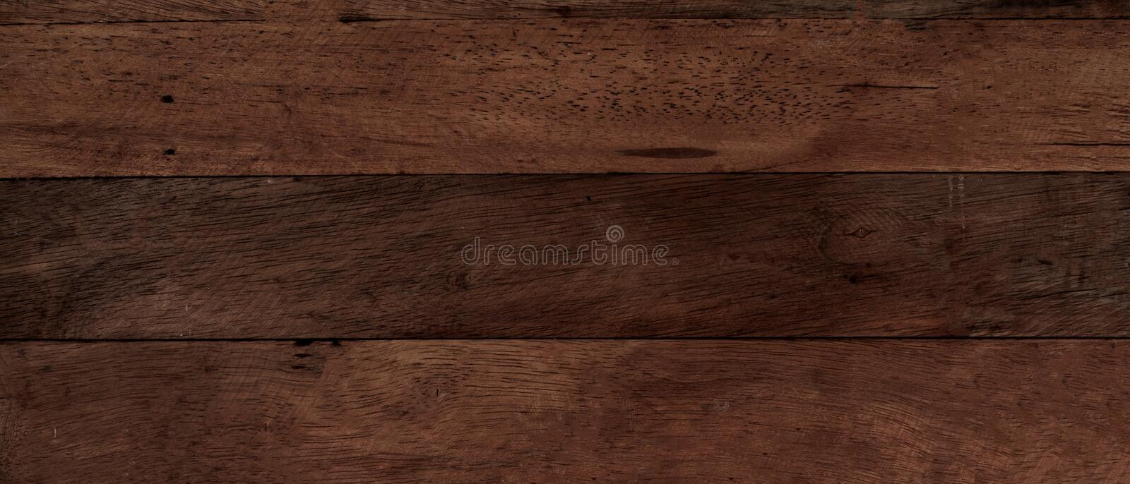 Closeup of old natural wood grunge texture. Dark surface with old natural wooden pattern. Vintage wooden floor. Panoramic royalty free stock photos