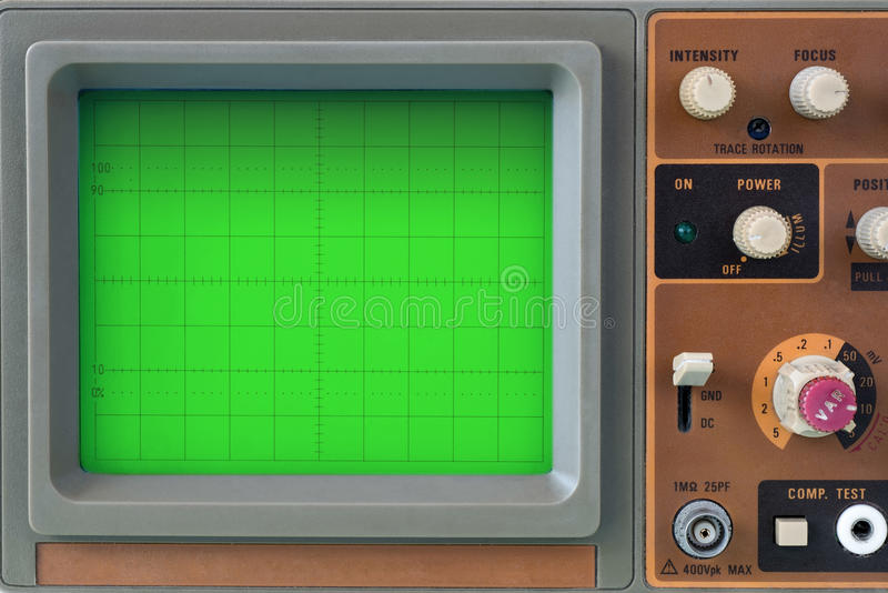 Closeup of old oscilloscope display stock photo