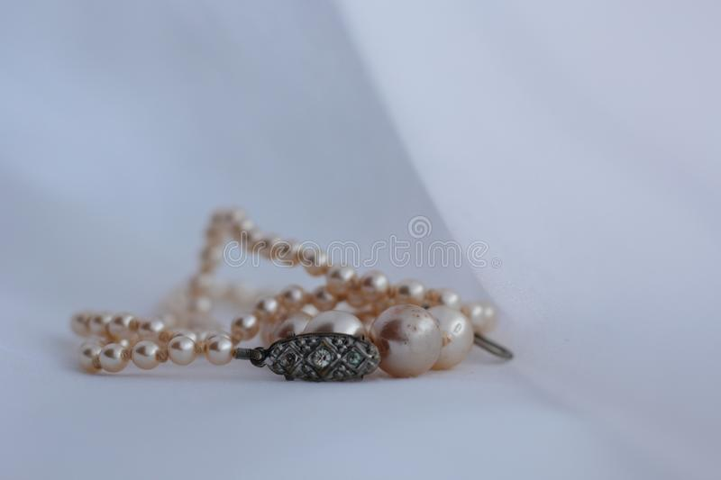 Old pearl necklace stock photos