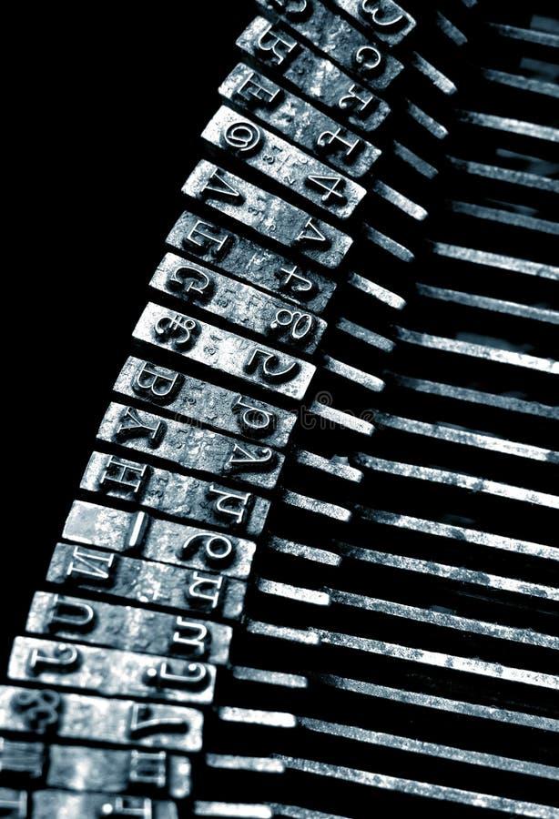 Closeup of an old typewriter. Text stock photo