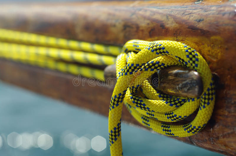 Closeup of old vintage cleat with yellow line stock images