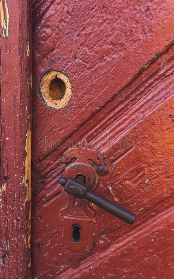 Old, rusty ,red door close-up royalty free stock photos