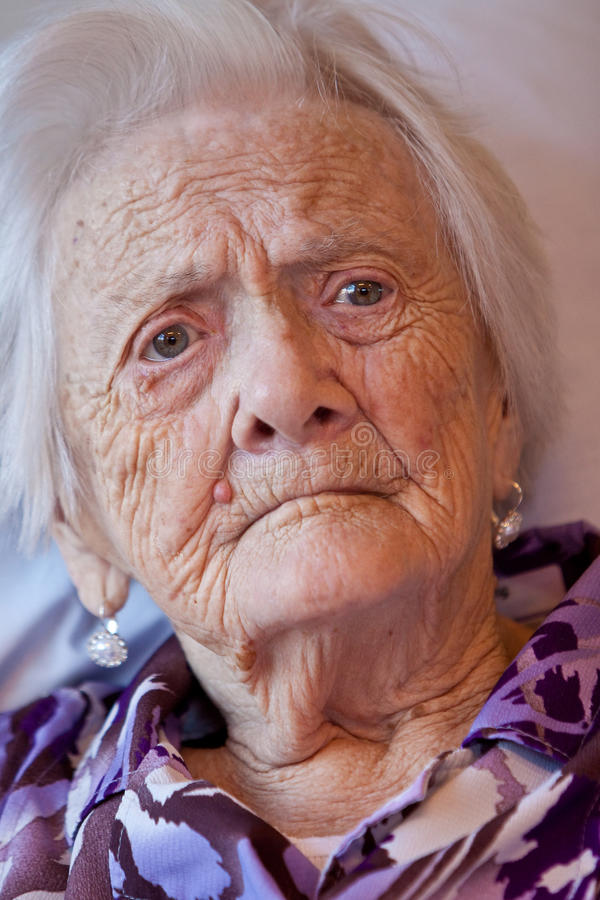 Closeup of an old woman. Closeup of the face of an old woman royalty free stock photo