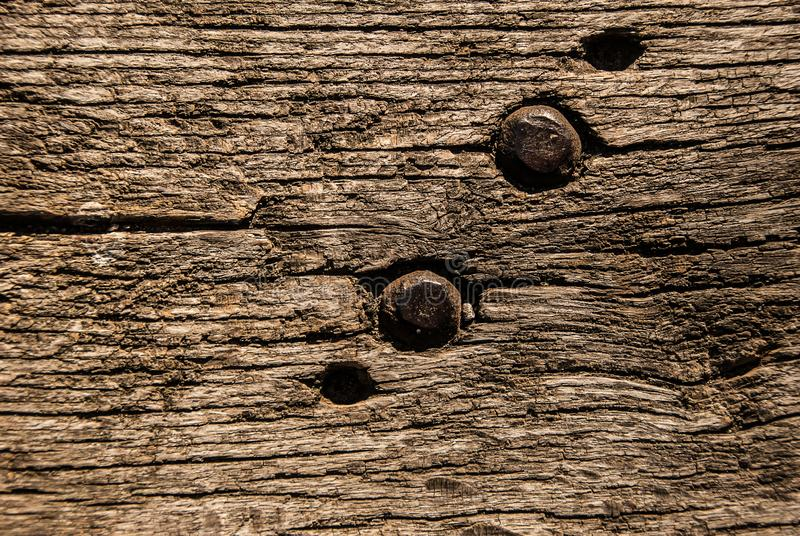 Closeup of old wooden bench surface with rusty screws. stock photography