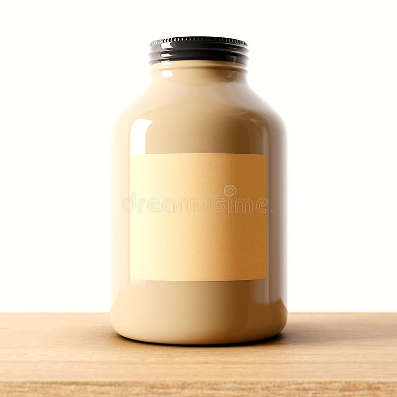 Closeup of one blank not transparent glass jar on the wood desk and white wall background.Empty glassy container , craft vector illustration