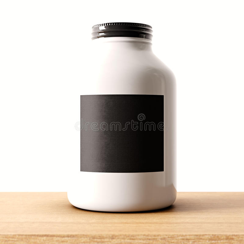 Closeup of one blank not transparent white glass jar on the wood desk and clear wall background.Empty glassy container royalty free illustration