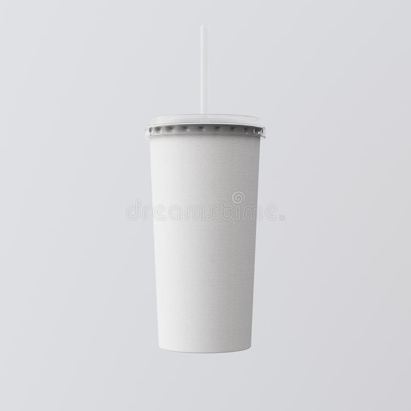 Closeup One Blank White Cardboard Smoothies Cup Isolated Gray Background.Take Away Cocktail Mug Closed Cap Tube Top. Clean Retail Mockup Presentation Ready stock photos