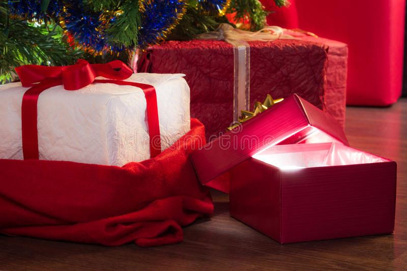 Closeup open red gift royalty free stock photo