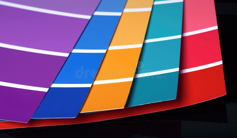 Closeup of open sample colors catalogue. royalty free stock image