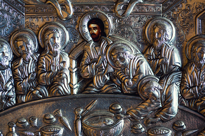 The last supper. Closeup of an ornate, antique, christian icon the last supper stock photo