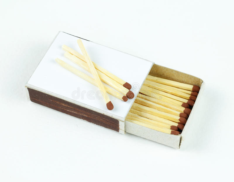 Closeup outdoor white boxes of matches. Scattered matches. royalty free stock photography