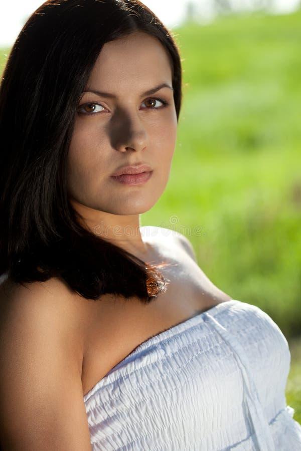 Closeup outdoors woman portrait