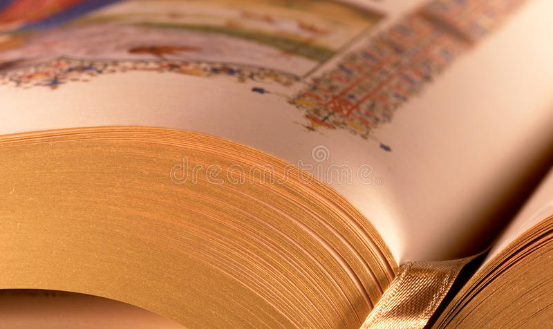 Download Closeup pages open book stock image. Image of gilded - 20874845
