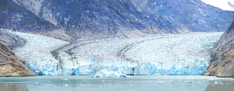 Closeup Panorama of the Dawes Glacier in Alaska royalty free stock photos