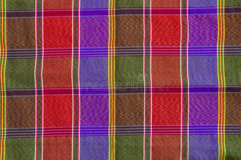 Closeup pattern and texture of loincloth Plaid Check fabric thai. Colourful silk style royalty free stock images