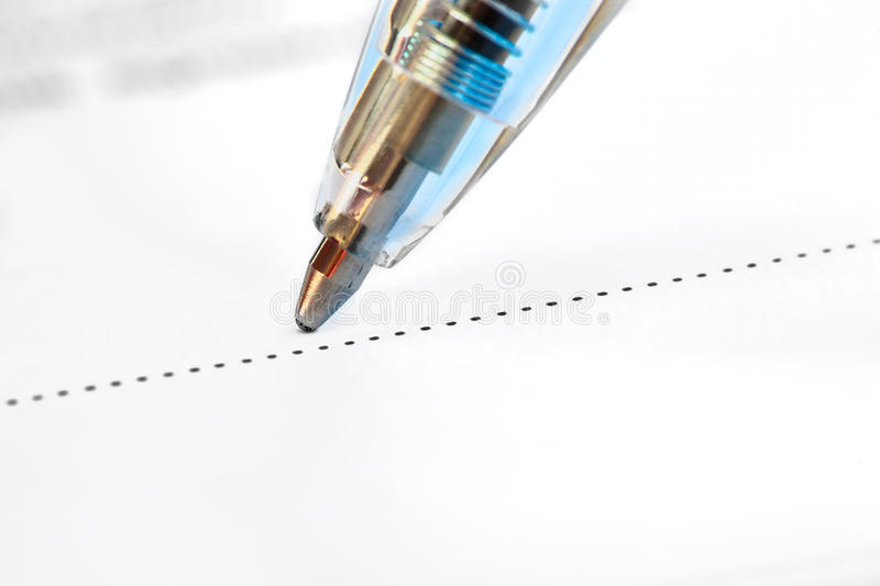 Download Closeup Of A Pen On The Dotted Line Stock Photos - Image: 20413263