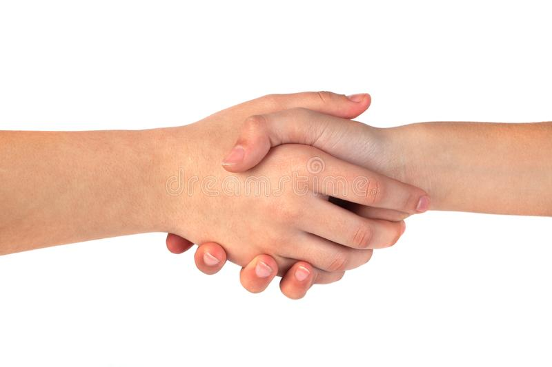 Closeup of people shaking hands isolated on white background stock photos