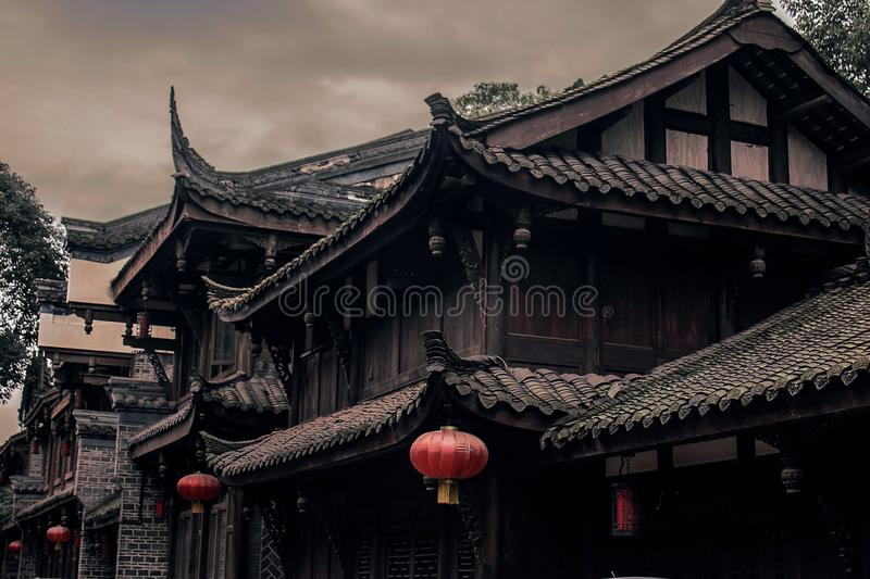 Closeup Photo of Brown and Black Wooden Houses Digital Wallpaper royalty free stock photos