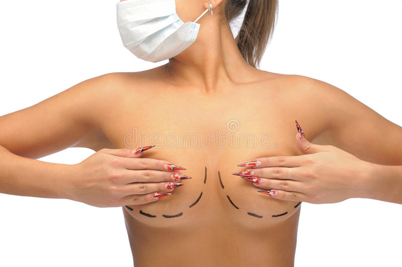 Closeup photo of a Caucasian woman's breasts royalty free stock images