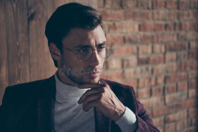 Closeup photo of classy macho business guy looking dreamy thinking about new startup idea wear stylish blazer turtleneck. Closeup photo of classy macho business stock images