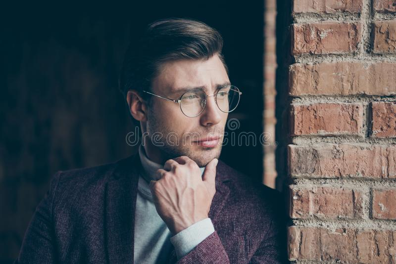 Closeup photo of classy macho business guy looking window dreamy thinking about new startup wear stylish blazer royalty free stock images