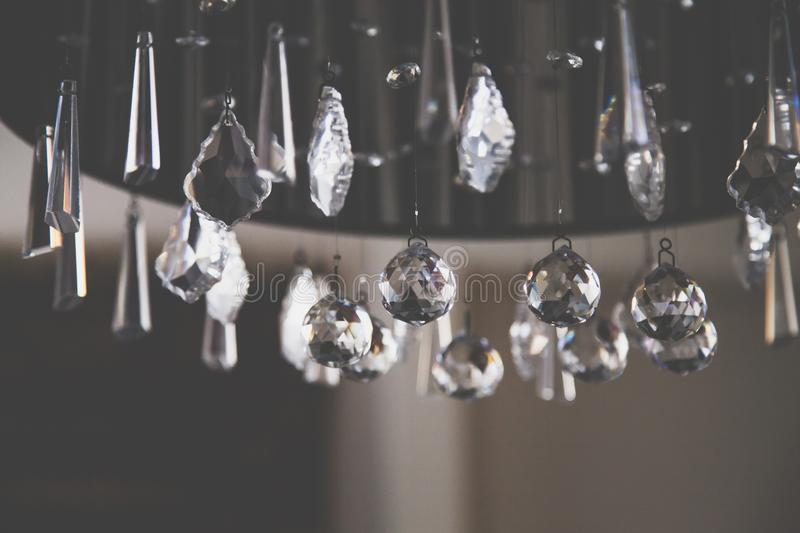 Closeup Photo of Clear Cut Glass Chandelier stock photos