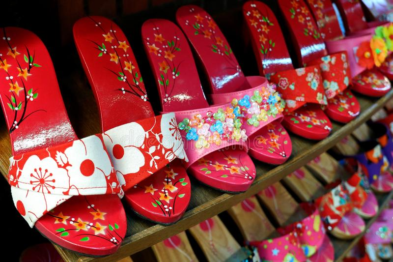 Closeup Photo of Colorful Flower Shoes. Selling at Chinese Street Market royalty free stock photos