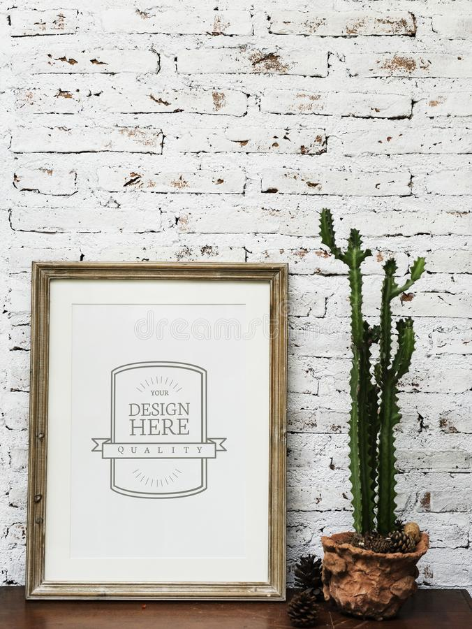 Closeup of photo frame by the wall royalty free stock image