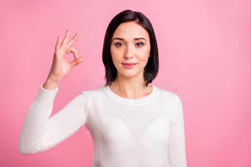 Closeup photo of funny lady showing okey symbol expressing agreement wear white pullover isolated pink bright color royalty free stock image