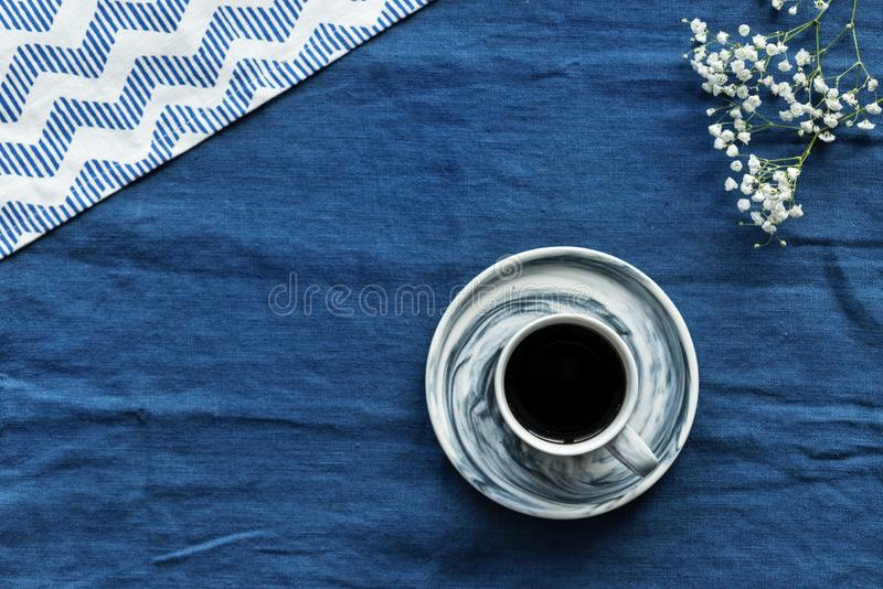 Closeup Photo of Gray and Black Teacup Filled by Coffee With Saucer royalty free stock photos