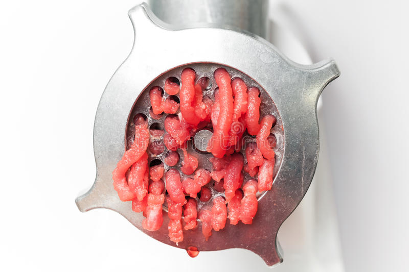 Download Closeup Photo Of Mincer Machine With Meat Stock Photo - Image: 28911552