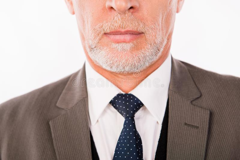 Closeup photo of old businessman in an elegant suit with beard stock photo
