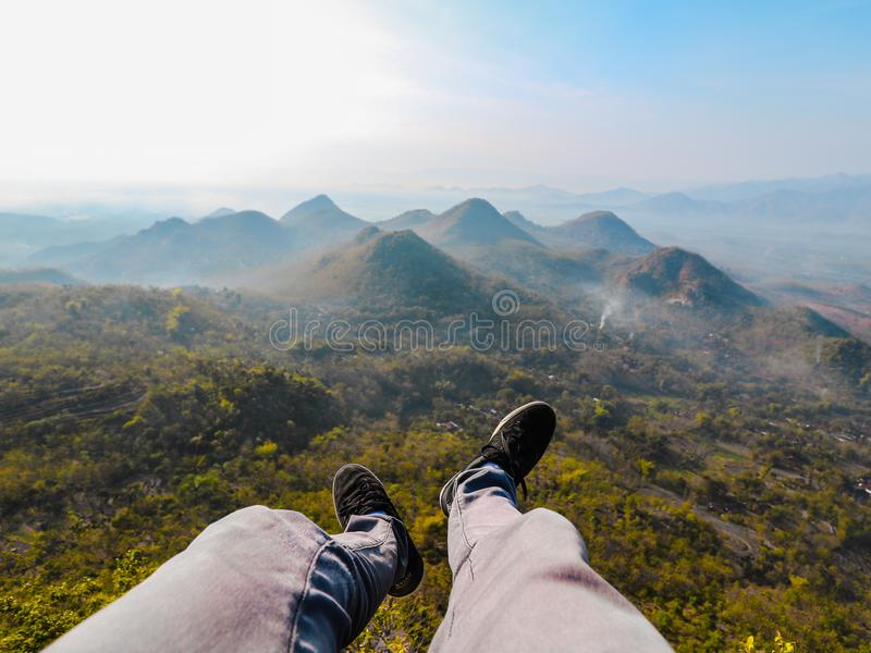Closeup Photo of Person's Foot Near Mountain royalty free stock photography