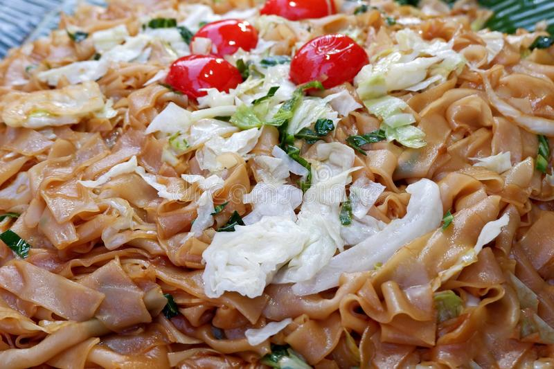 Stir-Fried Noodles with Vegetables and Soy Sauce stock image