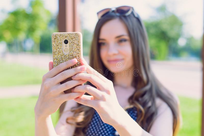 Closeup photo portrait of one pretty nice attractive charming lovely sweet dreamy with long hairstyle lady making taking selfie on. Telephone having fun face stock photo