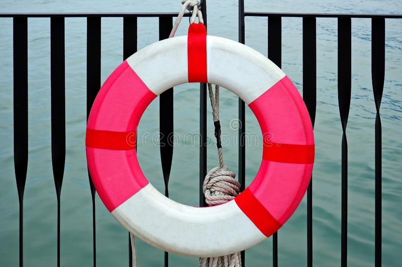 Red and White Lifebuoy / Safety Torus royalty free stock photography