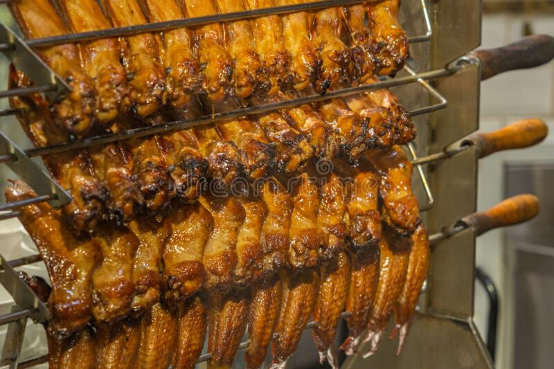 Closeup photo of roasted chicken wings in Chinese restaurant stock photo