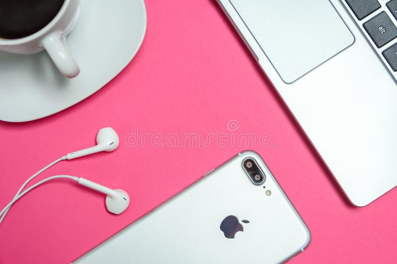 Closeup Photo of Silver Iphone 7 Plus With Earpods royalty free stock image