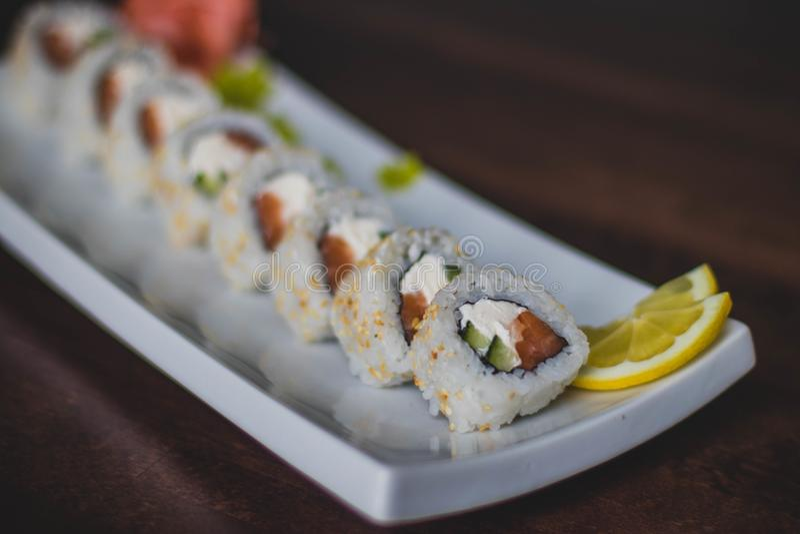 Closeup Photo of Sushi on Ceramic Plate stock photos