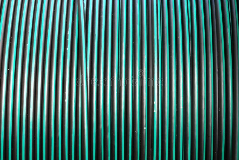 A large coil of underground electrical cable stock photo
